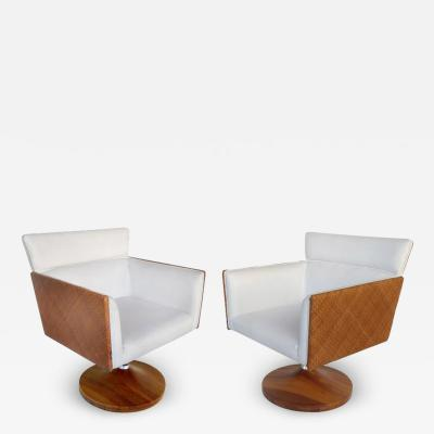Saccaro Brazilian Caned Swivel Chairs with Wood Bases by Saccaro