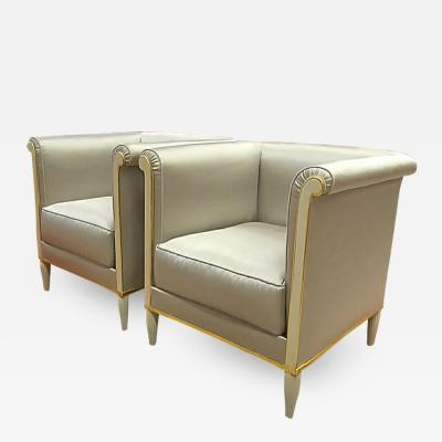Saddier et Fils Maison Saddier refined early Art Deco pair of square chairs in satin silk
