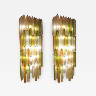 Salviati A Pair of Exceptional Massive Scaled Lit Chandelier Wall Sconces by Salviati