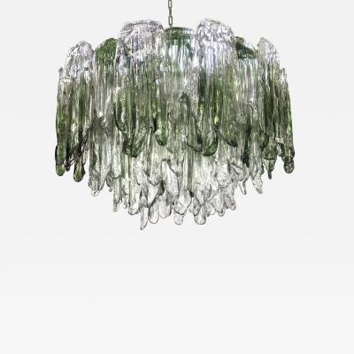 Salviati Large Green and Clear Textured Glass Chandelier by Salviati