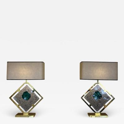 Salviati Late 20th Century Pair of Brass and Transparent Green Murano Glass Table Lamps