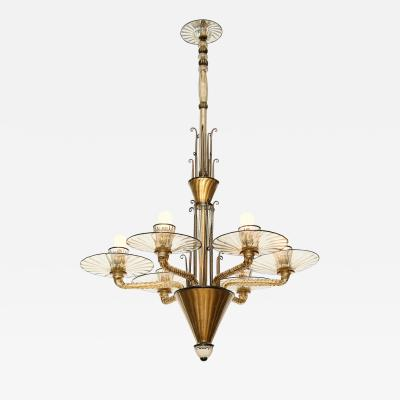 Salviati Rare Early 6 Light Chandelier by Salviati
