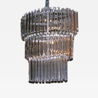 Salviati Salviati Vintage Minimalist Crystal Clear Murano Glass Oval Chandelier