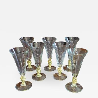 Salviati Set of 7 Salviati Venetian Gold Fleck Tall Champagne Flutes