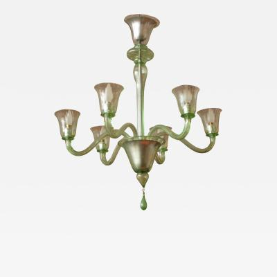 Salviati Six Arm Chandelier by Salviati Italy 1930