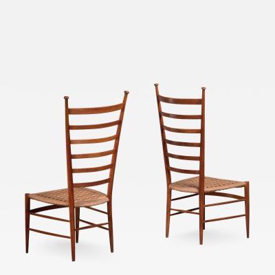 Sanguineti Pair of high back Chiavari chairs by Sanguineti