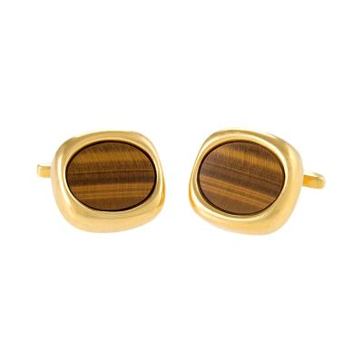 Sannit Stein Mid 20th Century Tiger Eye and Gold Cuff Links