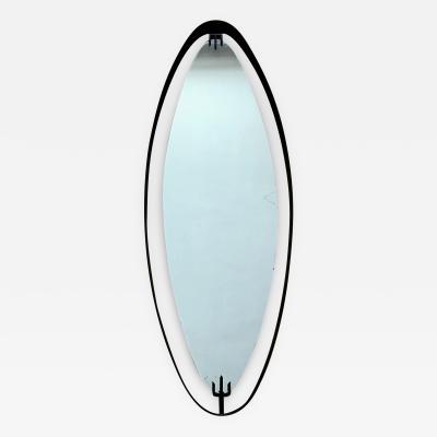 Santambrogio De Berti 1950s Oval Mirror in Iron by SantAmbrogio y de Berti