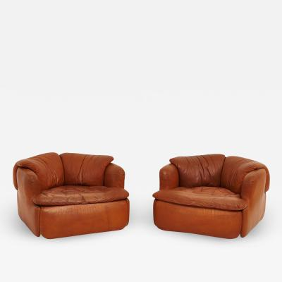 Saporiti Alberto Rosselli for Saporiti Brown Leather Confidential Lounge Chairs