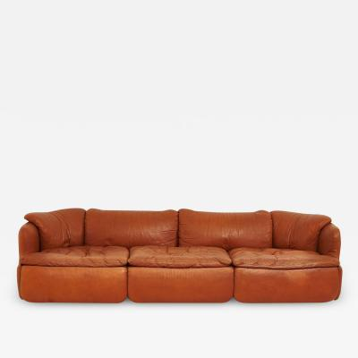 Saporiti Alberto Rosselli for Saporiti Brown Leather Confidential Sofa 1970 s