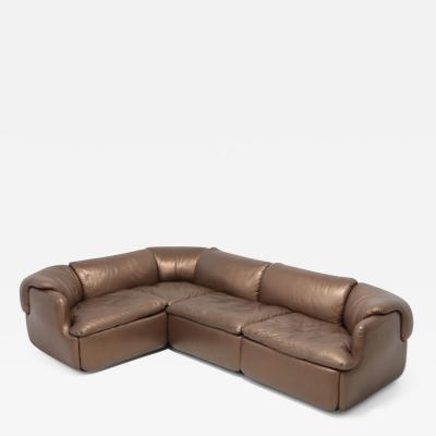 Saporiti Bronze Golden Leather Saporiti Sectional Sofa Confidential 1972