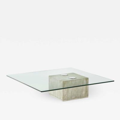 Saporiti Concrete and Glass Coffee Table By Saporiti