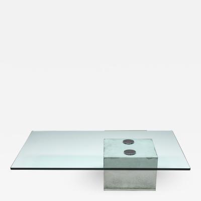 Saporiti Concrete and Glass Coffee Table by Saporiti 1970s