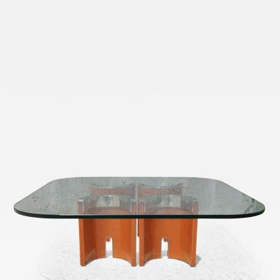 Saporiti Glass Stainless Steel Wood Coffee Table by Saporiti Italia