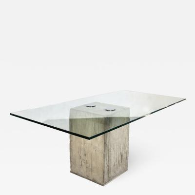 Saporiti Glass and Concrete Dining Table by Sergio Giorgio Saporiti circa 1970 Italy