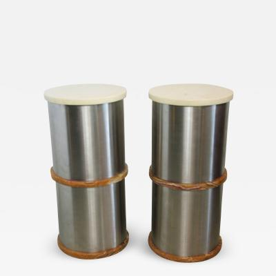 Saporiti Pair Italian Modern Stainless Steel and Onyx Side Tables