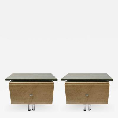 Saporiti Pair of Nightstands in Green and Tan Bird s Eye Maple Wood