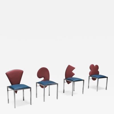 Saporiti Saporiti set of four chairs Warhol Malevich Kandinsky Fontana 1980s