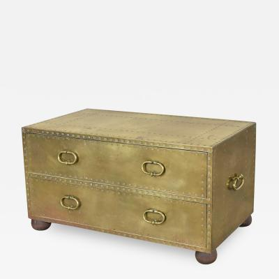 Sarreid Ltd Hollywood regency campaign style brass clad two drawer chest by sarreid ltd