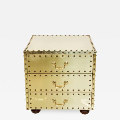 Sarreid Ltd Mid Century SARREID Spain Studded Brass CHEST Three Drawer NIGHTSTAND