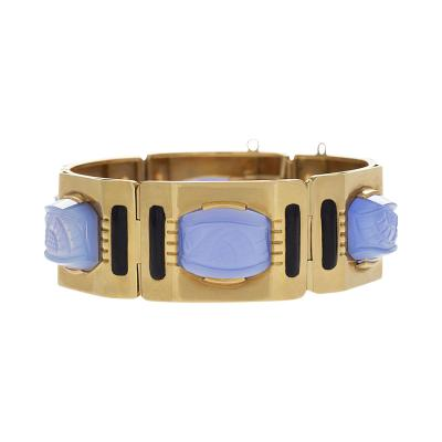 Sasportas Sasportas Paris Mid 20th Century Chalcedony Enamel and Gold Link Bracelet
