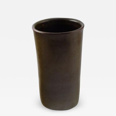 Saxbo Edith Sonne Bruun for Saxbo ceramic vase beautiful olive green glaze