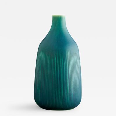 Saxbo Eva Staehr Nielsen for Saxbo Blue Green Bottle Shaped Ceramic Vase