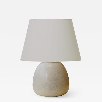 Saxbo Petite table lamp with vanilla harefur glaze by Saxbo