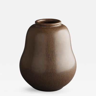 Saxbo Saxbo Pear Shaped Brown Ceramic Vase with Hint of Vertical Darker Lines