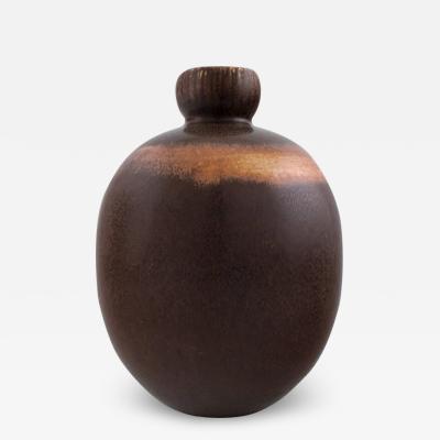 Saxbo Saxbo Rarely shaped vase decorated with dark brown glaze