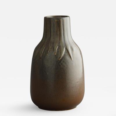 Saxbo Saxbo by Edith Sonne Brun Brown Short Neck Ceramic Vase