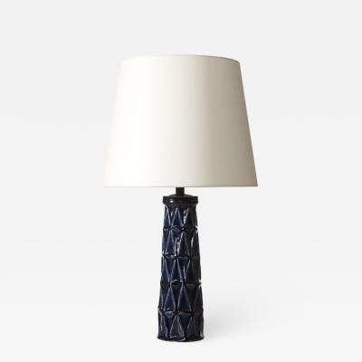 Saxbo Table lamp with cubist relief in ceramic by Leon Henri Galleto