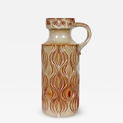 Scheurich Keramik A Seide for Scheurich Fat Lava Incised Ceramic Two Tone Jug Vase