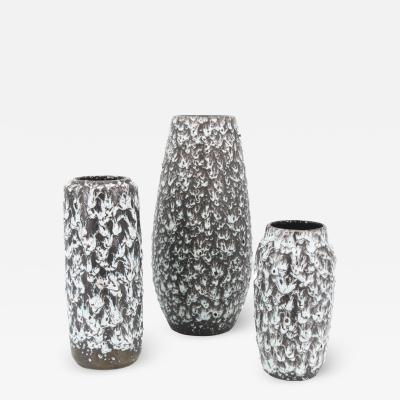 Scheurich Keramik Set of 3 retro vintage West Germany Scheurich Fat Lava vases dripping lava
