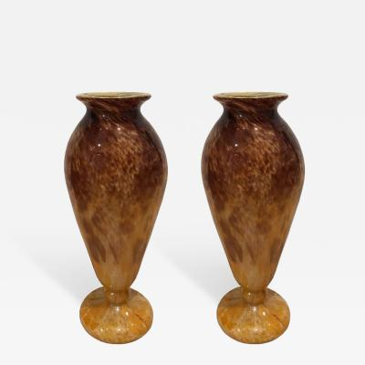 Charles Schneider Pair Of Glass Blown Vases Circa 1910 Signed