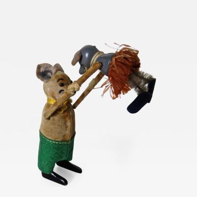 Schuco Company Schuco Clockwork Dancing Bear with Baby Mouse German Circa 1940