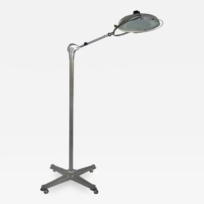 Scialytique Scialytique French Industrial Surgical Floor Lamp with Pivoting Adjustable Arm