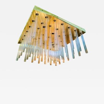 Sciolari Large Square Glass Tubes Brass Sciolari Mid Century Modern Flush Mount