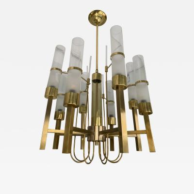 Sciolari Lighting Brass and Glass Chandelier by Sciolari Italy 1960s