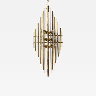 Sciolari Lighting Mid Century Italian Brass Lucite Pendant Chandelier
