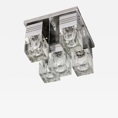 Sciolari Lighting Mid Century Modern Chrome and Murano Glass 5 Light Flushmount by Sciolari