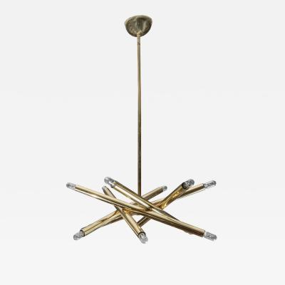 Sciolari Lighting Twelve Lights Brass Sciolari Chandelier