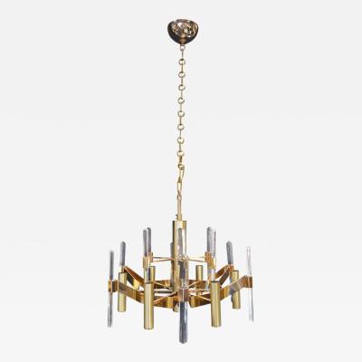 Sciolari Sciolari Six Light Gold Plated Brass and Crystal Chandelier