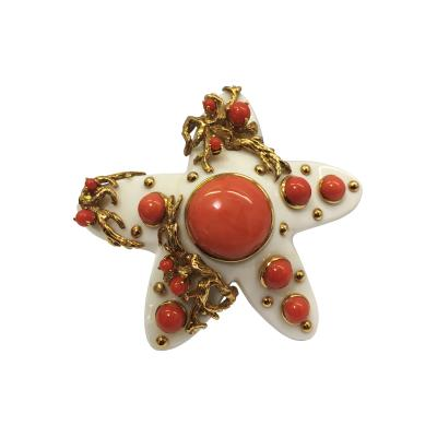 Seaman Schepps One of a Kind Ivory Coral and 18K Gold Brooch Signed Seaman Schepps