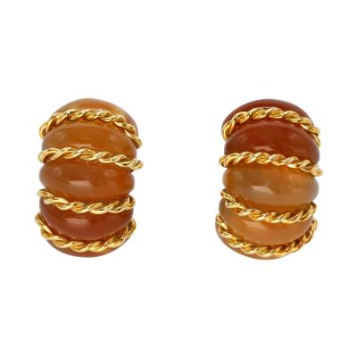 Seaman Schepps Pair of 18 Karat Gold and Citrine Earclips by Seaman Schepps