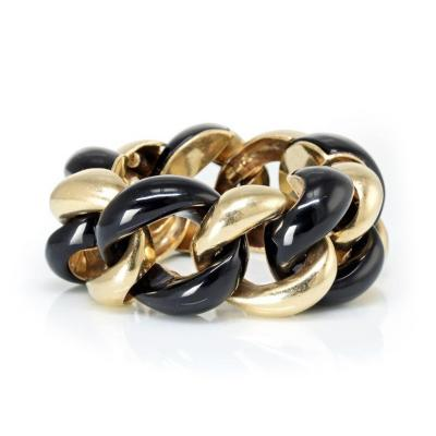 Seaman Schepps SEAMAN SCHEPPS LINK 18K YELLOW GOLD AND BLACK ONYX CURB BRACELET