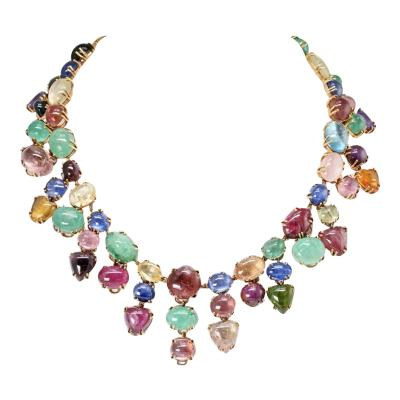 Seaman Schepps SEAMAN SCHEPPS MULTI GEMSTONE 18K YELLOW GOLD NECKLACE EARRINGS JEWELRY SET
