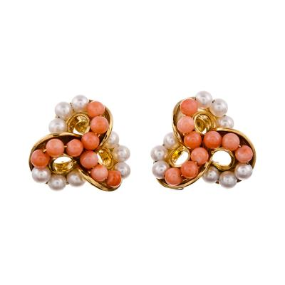 Seaman Schepps Seaman Schepps Coral and Pearl Yellow Gold Ear Clips
