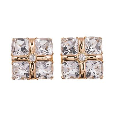Seaman Schepps Seaman Schepps Crystal Diamond Gold Four Square Earrings