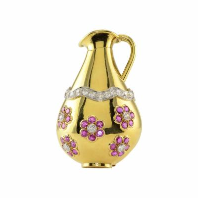 Seaman Schepps Seaman Schepps NY 6 50 CTW Ruby and Diamond Pitcher Brooch
